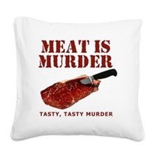 Meat is Murder Tasty Tasty Mu Square Canvas Pillow