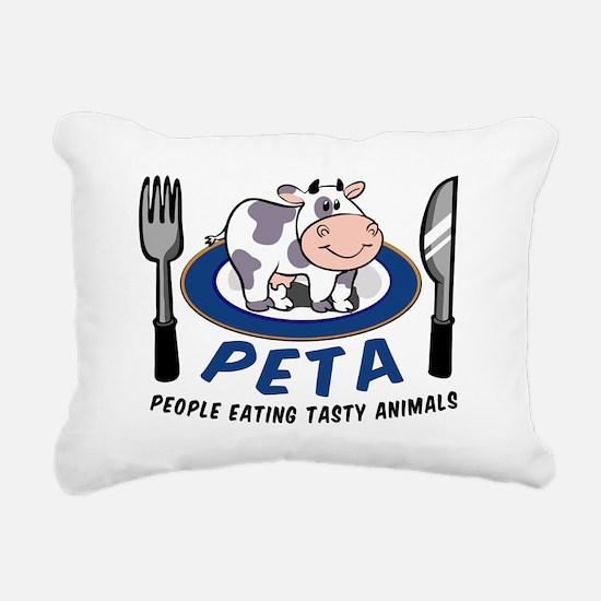 People Eating Tasty Anim Rectangular Canvas Pillow