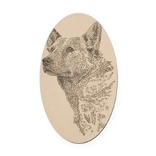 Australian_Cattle_Dog_KlineZ Oval Car Magnet