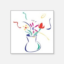"Flowers Square Sticker 3"" x 3"""