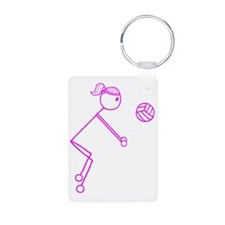 volleyball girl pink off c Aluminum Photo Keychain