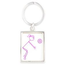 volleyball girl pink off center1 Portrait Keychain