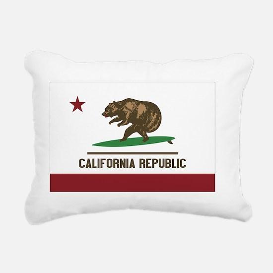 California Surfing Bear  Rectangular Canvas Pillow