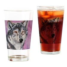 Purple Wolf Drinking Glass