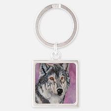 Purple Wolf Square Keychain