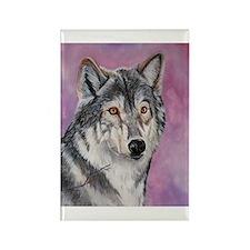 Purple Wolf Rectangle Magnet