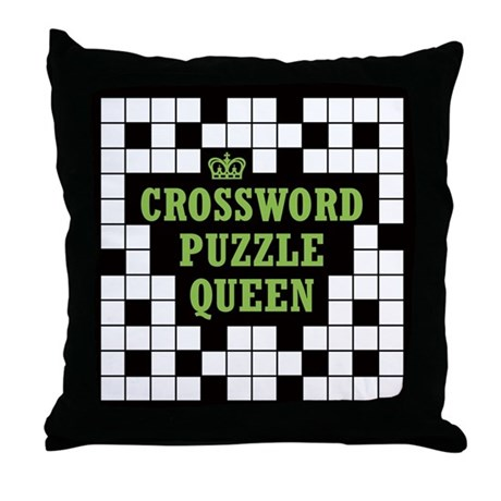 Crossword Queen Throw Pillow by pennandpiper
