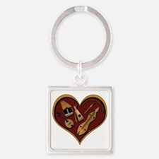heart patch for cafe press shadow  Square Keychain