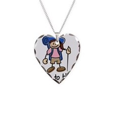 HikeGirl_Blue Necklace Heart Charm