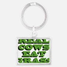 Real Cows Eat Grass Landscape Keychain