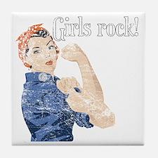 girls rock Tile Coaster