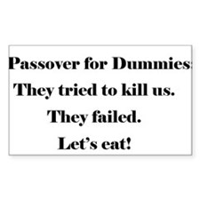 Passover For Dummies Rectangle Decal