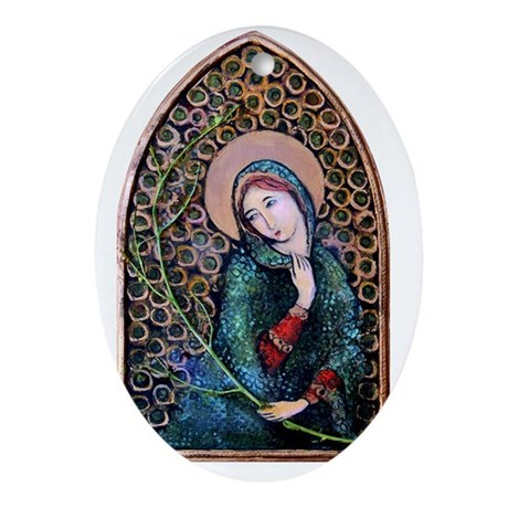 VirginMary16HOPKINS Oval Ornament
