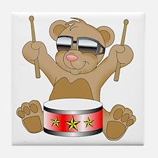 Teddy Drumming Tile Coaster