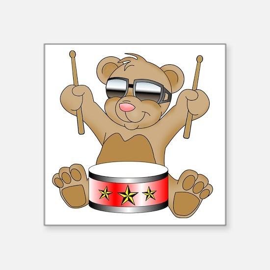 "Teddy Drumming Square Sticker 3"" x 3"""