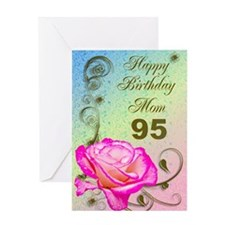 95th birthday card for mom, Elegant rose Greeting