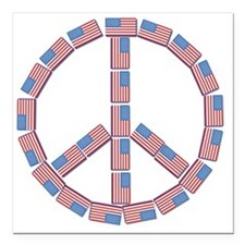 "USA_Peace Square Car Magnet 3"" x 3"""