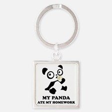 pandaHomeworkB Square Keychain