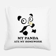 pandaHomeworkB Square Canvas Pillow