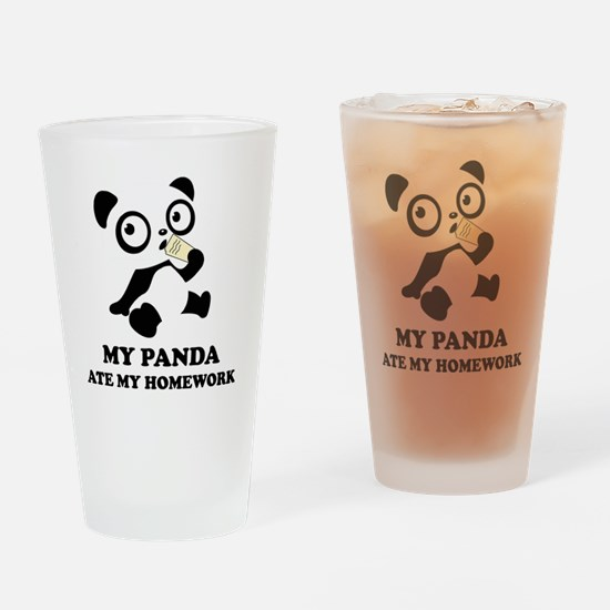 pandaHomeworkB Drinking Glass