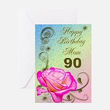 90th birthday card for mom, Elegant rose Greeting