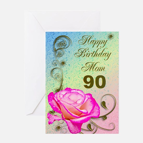 90th birthday card for mom, Elegant rose Greeting