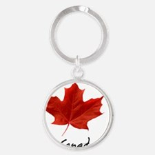 O_Canada_red_blackLetters copy Round Keychain