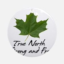 TrueNorth-greenLeaf-blackLetters co Round Ornament