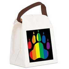 rainbow paw BLACK mCap2 Canvas Lunch Bag
