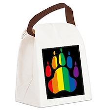rainbow paw BLACK Canvas Lunch Bag
