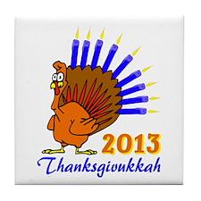 Thanksgivukkah 2013 Menurkey Tile Coaster