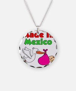 Made In Mexico Stork Girl Necklace Circle Charm