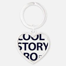 Cool-Story-Bro-(white-shirt) Heart Keychain