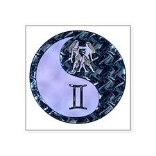 "Blue Yin Yang Gemini  copy Square Sticker 3"" x 3"""