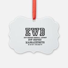 AIRPORT CODES - EWB - NEW BEDFORD Ornament