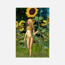 Sunflower Fairy with Summer Backg Rectangle Magnet