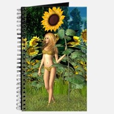 Sunflower Fairy with Summer Background Journal