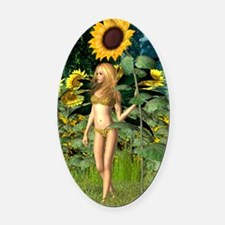 Sunflower Fairy with Summer Backgr Oval Car Magnet