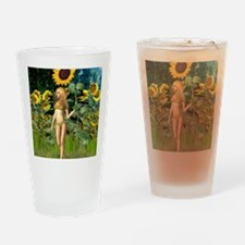 Sunflower Fairy with Summer Backgro Drinking Glass