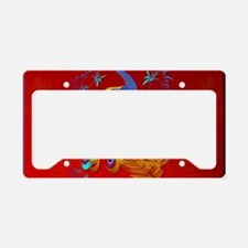 Three Feathers and a Peacock- License Plate Holder
