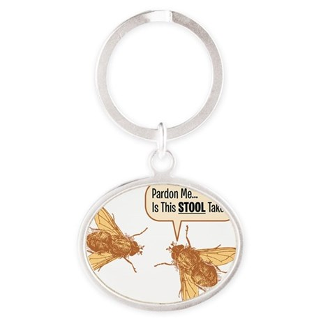 Pardon Me-brown on black-01 Oval Keychain