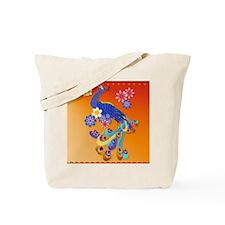 CalenderFancy Peacock and Flowers Tote Bag