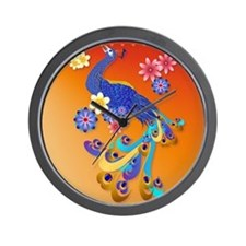 CalenderFancy Peacock and Flowers Wall Clock