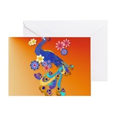 CalenderFancy Peacock and Flowers Greeting Card