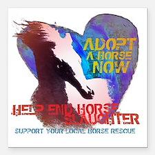 "Adopt A Horse Square Car Magnet 3"" x 3"""
