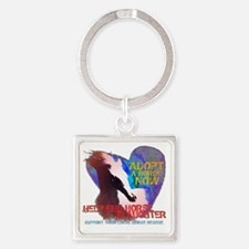 Adopt A Horse Square Keychain
