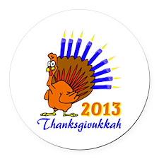 Thanksgivukkah 2013 Menurkey Round Car Magnet