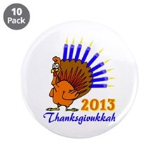 """Thanksgivukkah 2013 Menurkey 3.5"""" Button (10 pack)"""