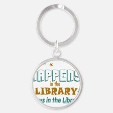 What_Happens_in_the_Library_Green_a Round Keychain