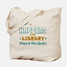 What_Happens_in_the_Library_Green_and_Gol Tote Bag
